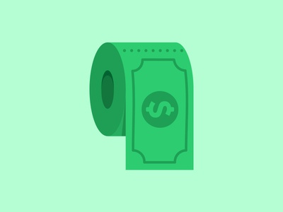 Filthy Rich rich toilet paper filthy icon money bill green flat minimal illustration