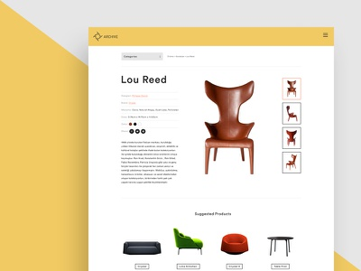 Archive website furniture product page detail chair furniture design shop e-commerce