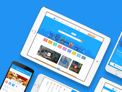 BiKoshu website neighbors character illustration ux ui ipad shop sale blue mobile app