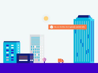Evtiko Illustration turkey city illustration ux ui responsive blue website istanbul fol evtiko