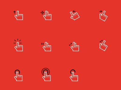 Gesture Icons chart user flow interaction hand ui ux gesture