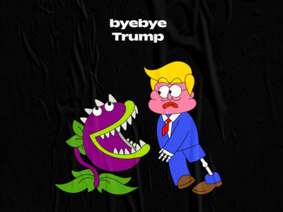 byebye trump digital graphic vector graffiti character cartoon illustration design creative 2d trump