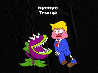 byebye trump digital graphic vector graffiti character cartoon illustration design creative 2d trump
