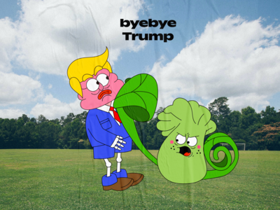 byebye trump branding graffiti graphic character cartoon illustration digital design creative 2d