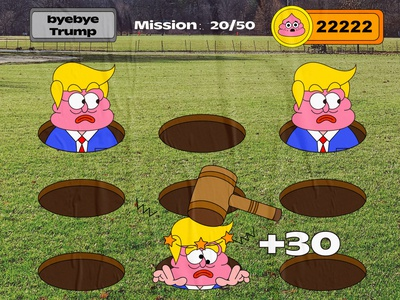 byebye trump vector illustration graffiti misson coin hammer ui creative character cartoon game design game 2d