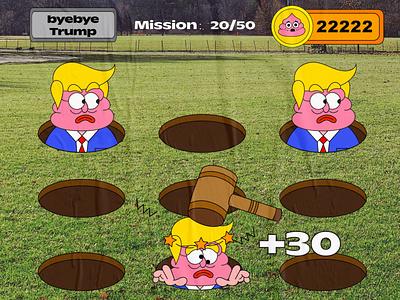 byebye trump vector illustration graffiti misson coin hammer ui creative character cartoon game design game 2d