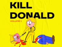 byebye trump cartoon graphic flat illustration graffiti character yellow killer film kill bill creative 2d