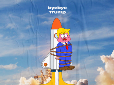 byebye trump design creative graffiti kidnapping nasa rope rocket graphic character cartoon illustration 2d trump