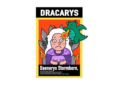 Game of Thrones-Daenerys dinosaur fire graffiti illustration digital design creative character cartoon 2d