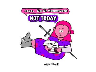 Game of Thrones-Arya Stark flat art graffiti illustration sword digital design creative character cartoon 2d
