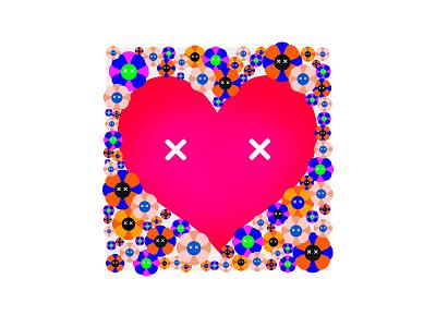 Love is Love-happiness branding illustration design digital graphic art sunflower heart flower creative 2d