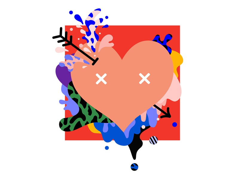 Love is Love-chaos art graphic graffiti cartoon illustration digital design creative 2d color heart arrow