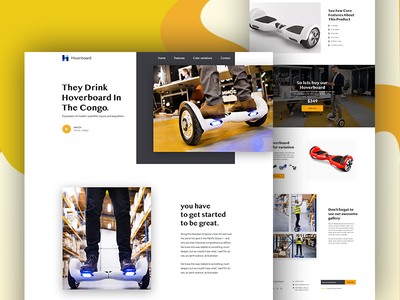 Hoverboard landing page design graphic homepage landing page one ui ux hoverboard website