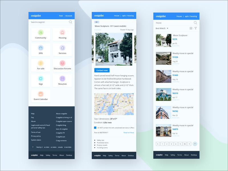 Craigslist Redesign on mobile by Mashok💯 on Dribbble