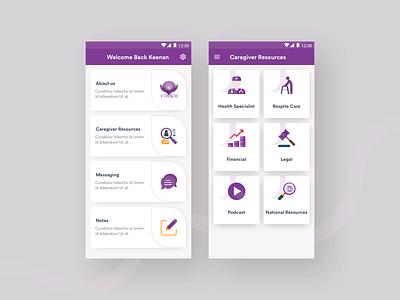 Caregiver Apps Design concept full apps trend clean typography illustration app design design app inspiration minimal ui design appointment android app podcast health caregiver care
