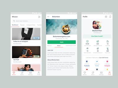 Brandbassador App Redesign inspiration about us profile clientwork ui design 2019 trend app design android app ux ui clean minimal app gift card mission redesign brandbassador