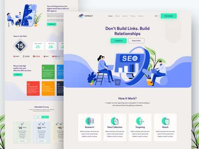 Consult SEO Landing Page illustration startup digital agency corporate advertising agency inspiration creative ux ui typogaphy website business landing page landing page business seo agency agency website clean