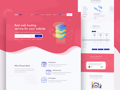 Landing page - Stack Host homepage theme design cloud cryptocurrency server corporate agency service domain hosting pricing support experience popular trending homepage ui ux design illustration typography layout concept website web landing page b2c saas b2b deshboard