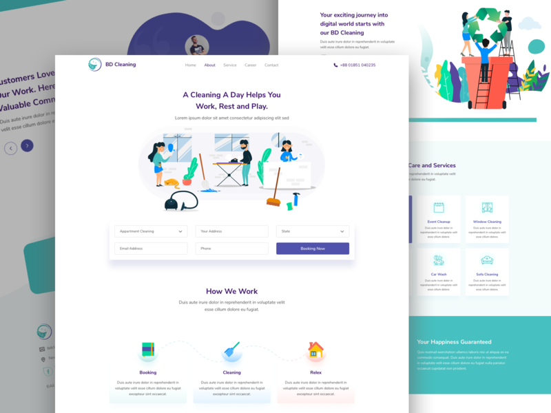 Cleaning Service - Landing page job header business home cleaning office clean clause minimal maintenance inspiration website ux ui web work cleaning company diy clean cleaning service illustration cleaning
