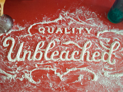 Unbleached food type illustration lettering retro ground white unbleached quality food meal harina flour farine type typography hand lettering kitchen red