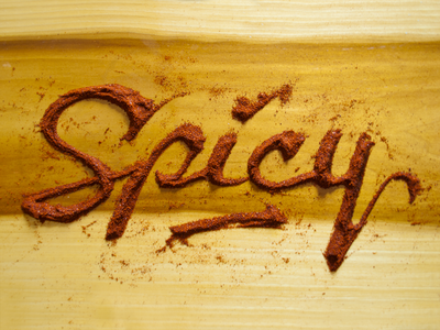Spicy Chili food food type food typography script illustration lettering hand lettering spicy chili chili powder cayenne design wood wood grain red yellow