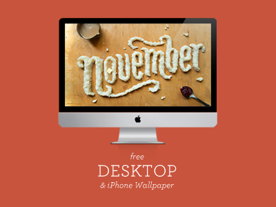 Free Food Type November Wallpaper fall thanksgiving mashed potatoes november typography type hand lettering lettering illustration food typography food type food