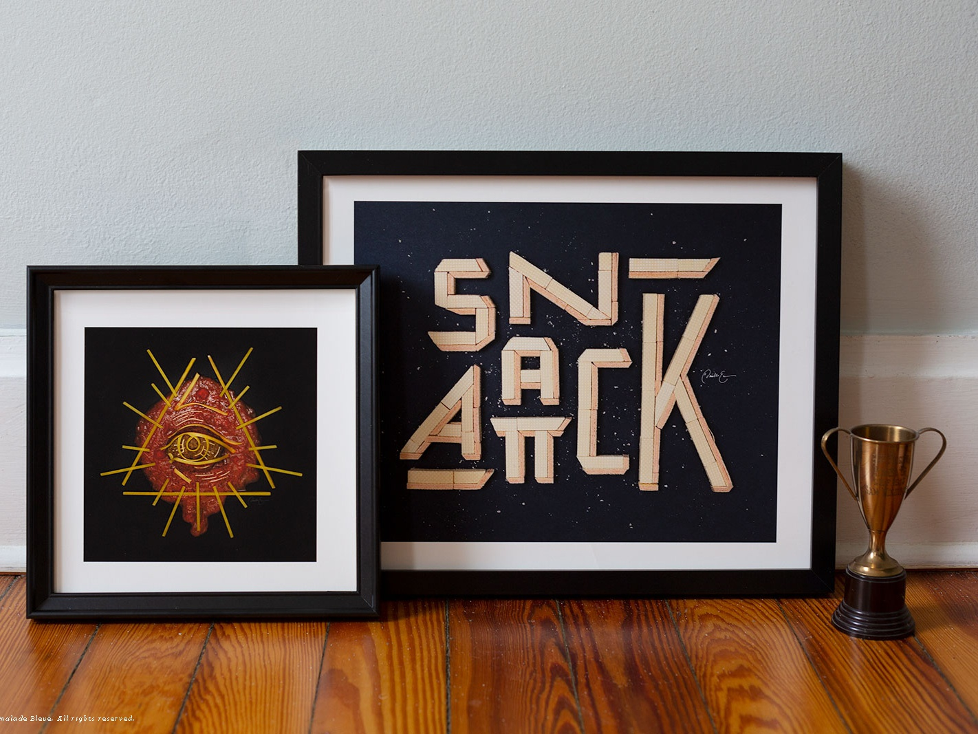 Prints snack attack and secret sauciety framed
