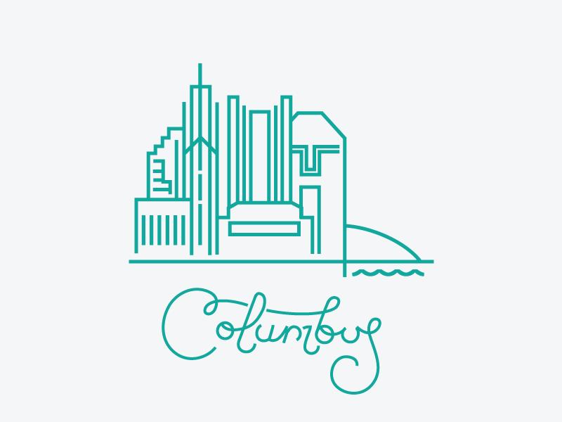 Columbus j fletcher illustration monoline lettering columbus ohio cities