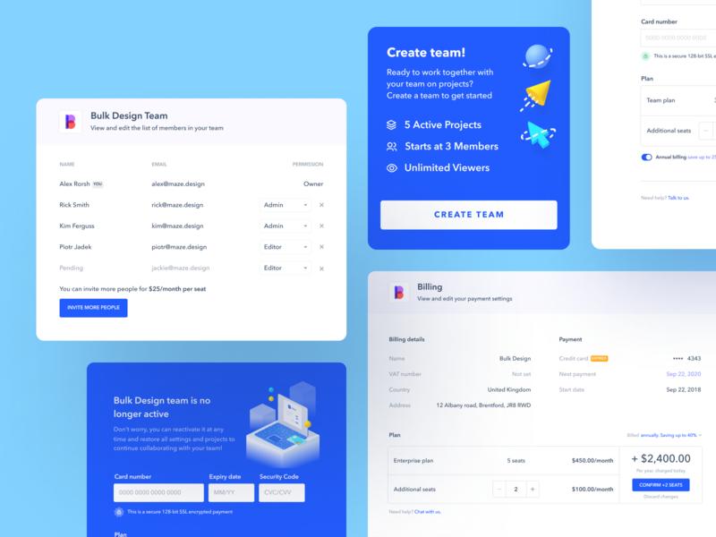 Team Management on Maze clear simple flat design application branding web website webapp app ux ui