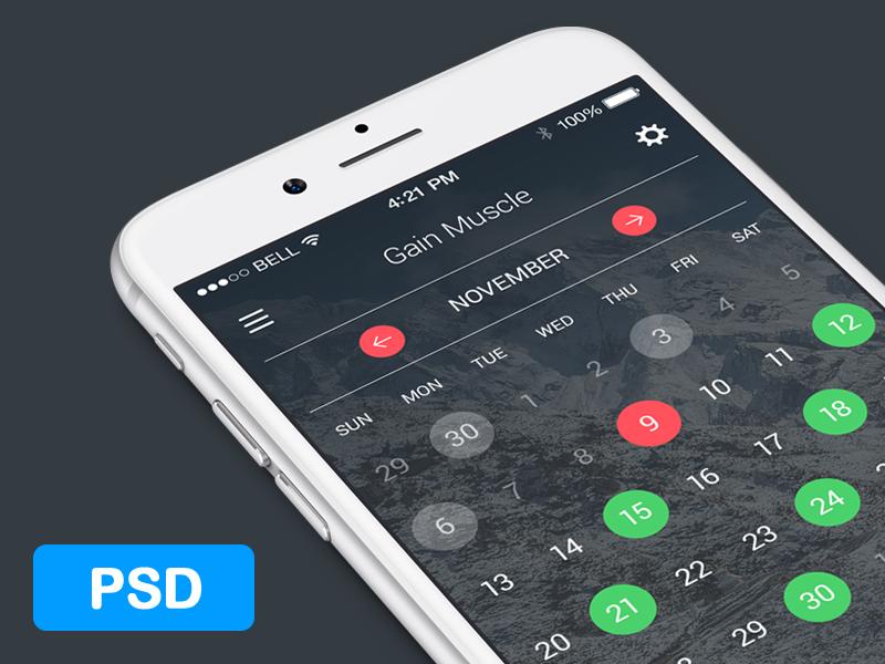 Calendar for fitness app. FREE PSD ios ui ux gui calendar iphone date dark interface psd free freebie