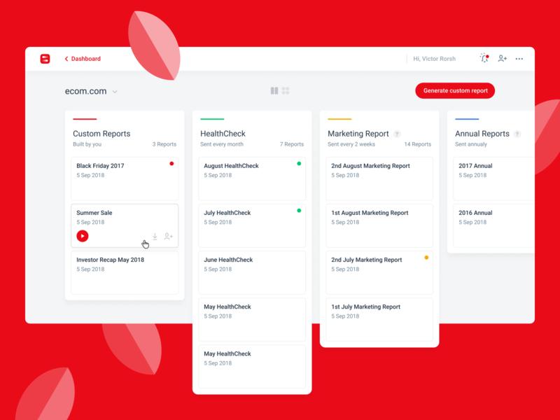 Visionist Reports Feature design website application app webapp dashboard web ux flat ui