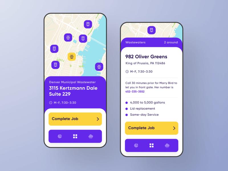 Service Core iOS Application Map Screen map ui ux flat app application ios design minimal iphone experiece app design screenshot screenshots keyboard simple purple bright dashboard graphic