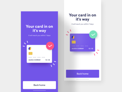 Universe AB card delivery status UI