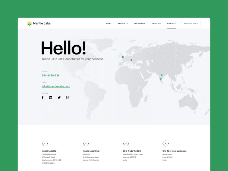 Mantle Labs - contact page contact design ux simple ui webdesign