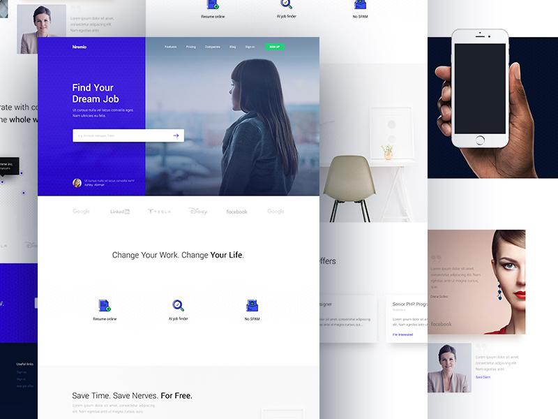 Hiremio homepage white simple blue formal job homepage
