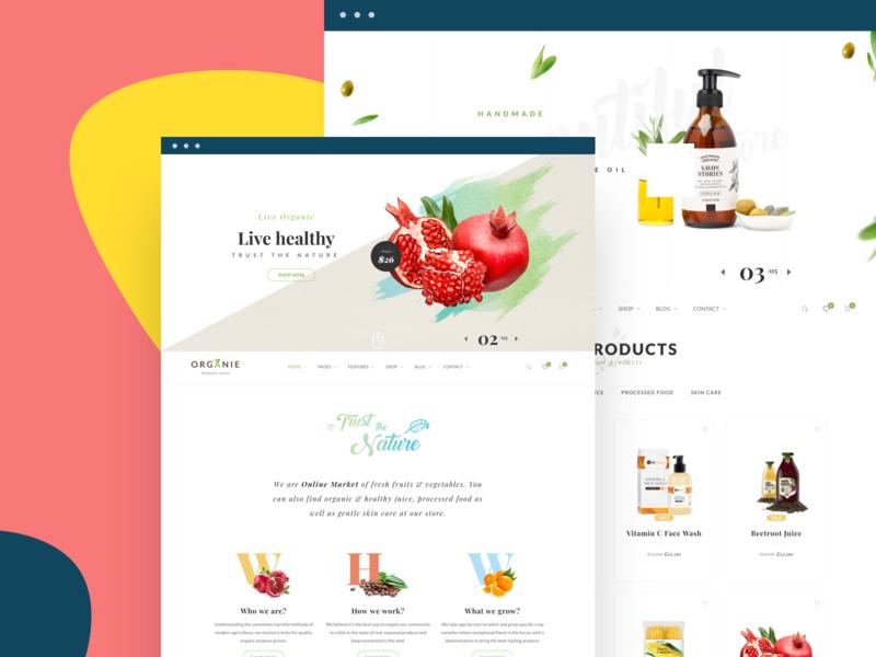 Organie - Organic Store & Food WooCommerce Theme 2 design webdesign ui creative e-commerce multipurpose modern minimal psd wordpress