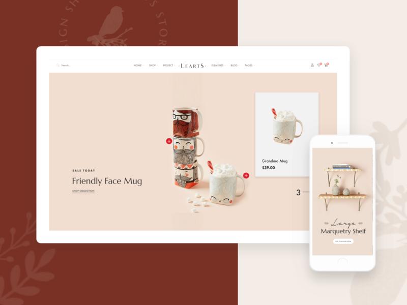 LeArts   WooCommerce WP Theme - Homepage 2 portfolio art woocommerce theme elegant handmade online shop blog design ux ui webdesign creative modern minimal psd wordpress