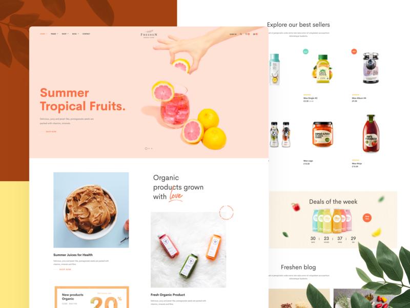Freshen   A fresh design for Organic stores shopping orange fruit shop organic e-commerce design ux ui webdesign creative minimal modern wordpress
