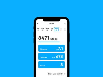 Activity App blue calendar calories distance km step run fit activity fitness
