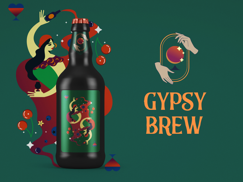 Gypsy brew beer label logo gypsy illustration craftbeer labeldesign beer vector