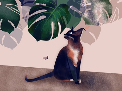 home jungles illustration monstera cat