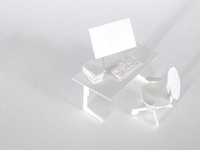 Paperless Office 02 white handmade intimate cut out paper illustration maurice van der bij