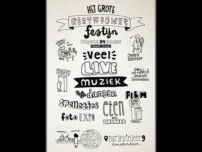 Feast! everybody is welcome! shape letter typographic illustration maurice van der bij
