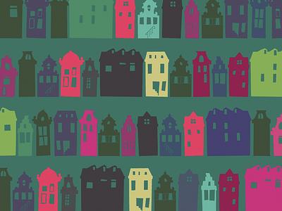 Amsterdam Houses decorative pattern wallpaper houses amsterdam illustration maurice van der bij