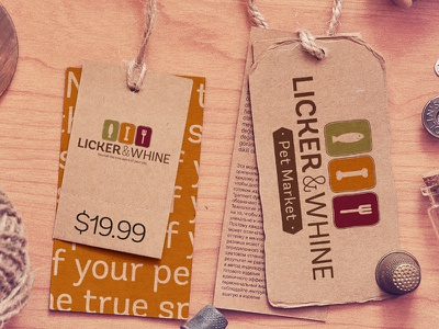 Licker&Whine Tags stationary design pet store marketing typography icons cards organic