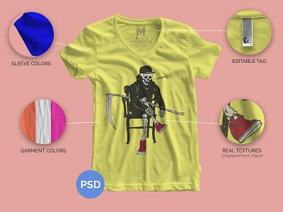 Part 4 | Mockup Giveaways black reaper skull yellow hand drawn garment american apparel free t-shirt mockup free mockup mockup mock free