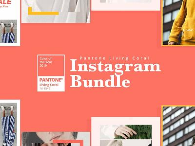 Pantone Instagram Bundle photoshop social media templates instagram template social media marketing social media ads easy to use instagram posts pantone instagram story