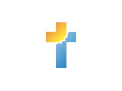 The Ministry Logo church logo cross sun sky gradient