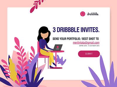3 Dribbble Invites typography event app design summer profile web design dribbble invites dribbble debut illustration dribbble invite design app landing page ios dailyui flat minimal ux ui