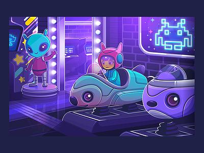 Arcade Planet karyl gil vector cute illustration art purple neon alien space planet arcade